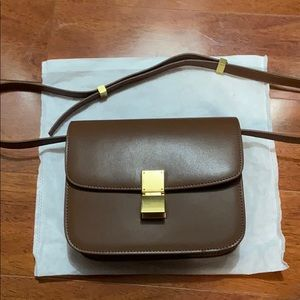 Leather Box Bag Crossbody - Brown